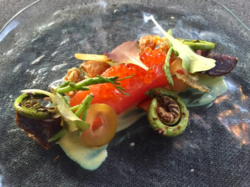 trout and fiddlehead fern at sons and daughters